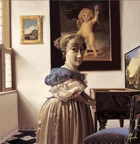 Johan Vermeer. Youg woman standing at a virginal