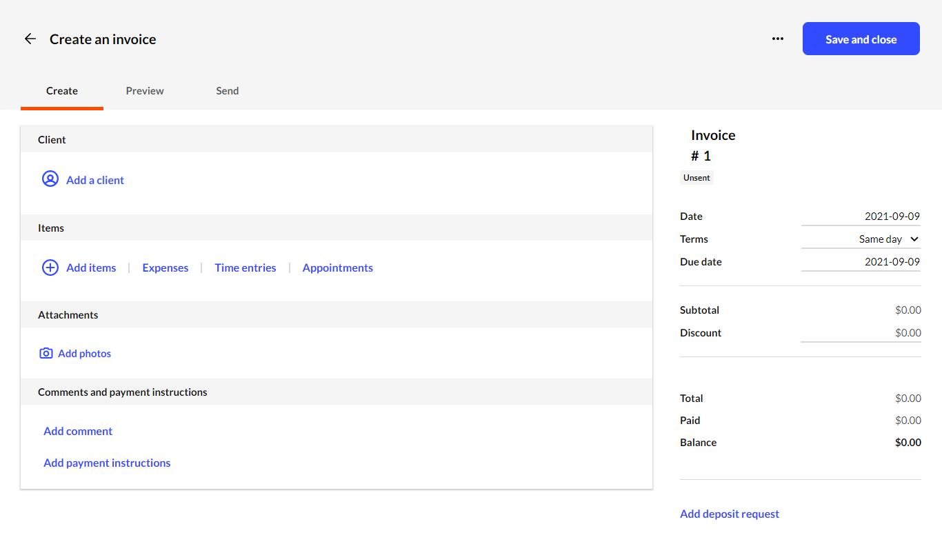 Interfaz de Invoice2go