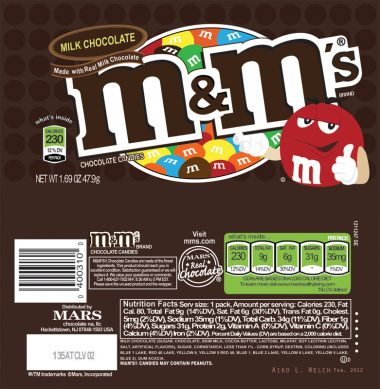 valor nutricional de M&Ms