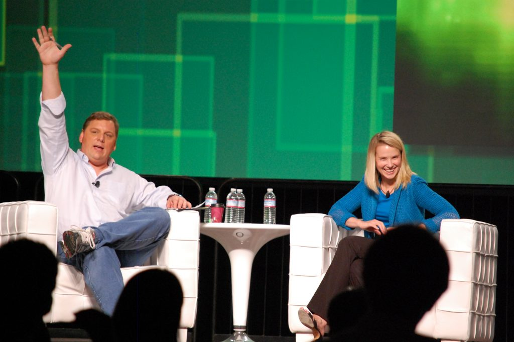 Marissa Mayer y Michael Arrington