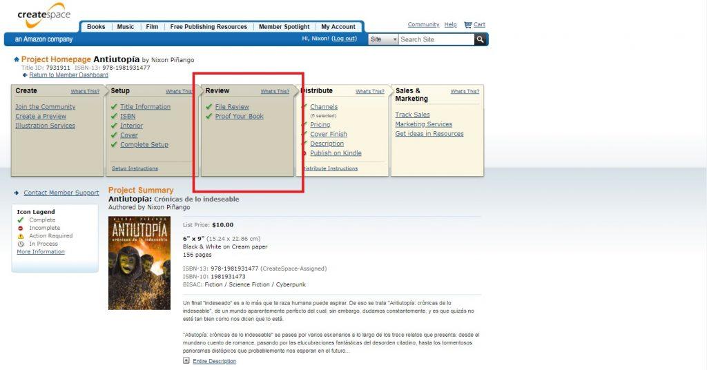 Captura de pantalla de las opciones para la prueba en CreateSpace