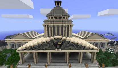 Un ejemplo de las construcciones del mundo de Minecraft