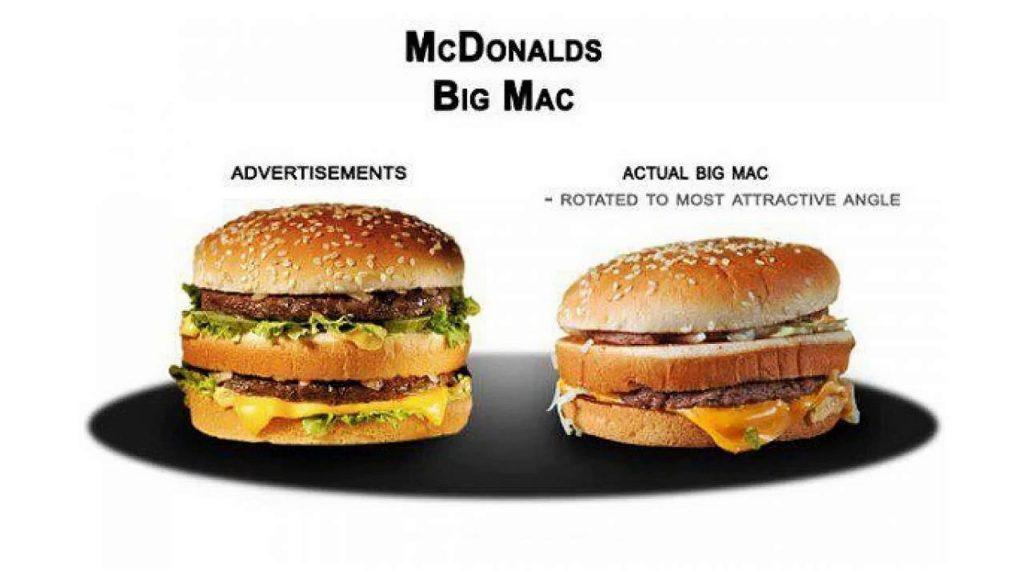 Hamburguesa de McDonald's Realidad vs Comerciales