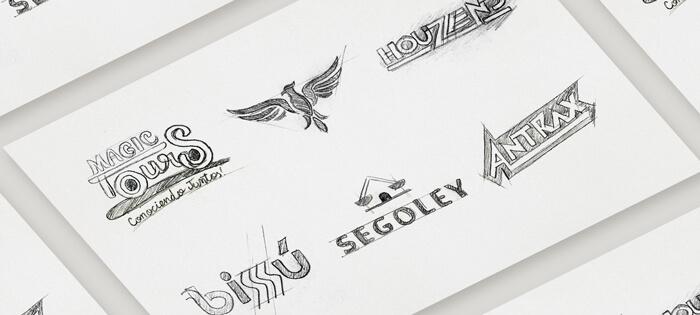Bocetos de diseños de logos