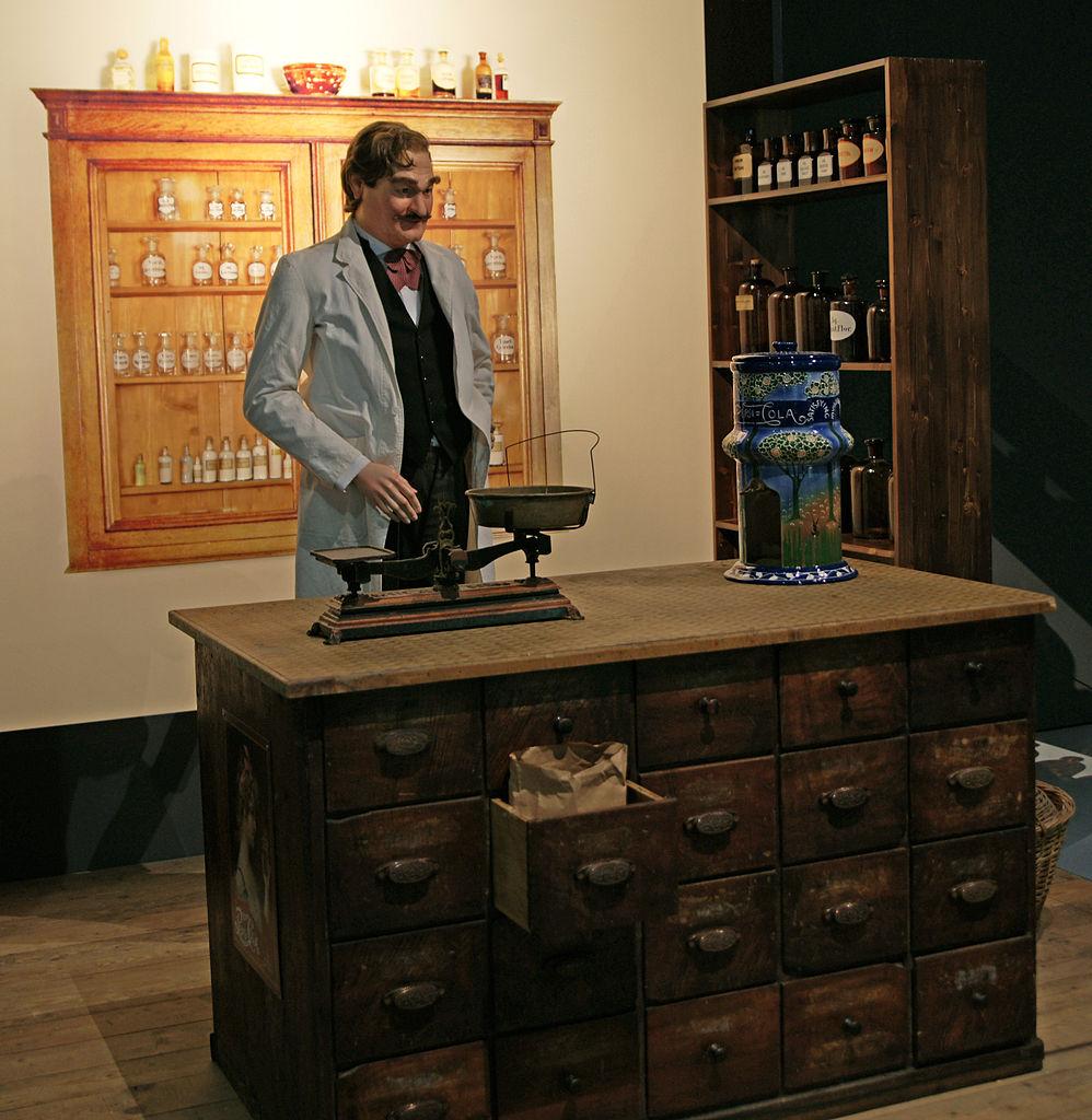 Representación de la farmacia de Caleb Bradham en el Historical Museum Bern