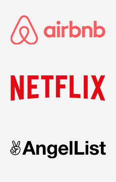 Logos de Airbnb Netflix y AngelList