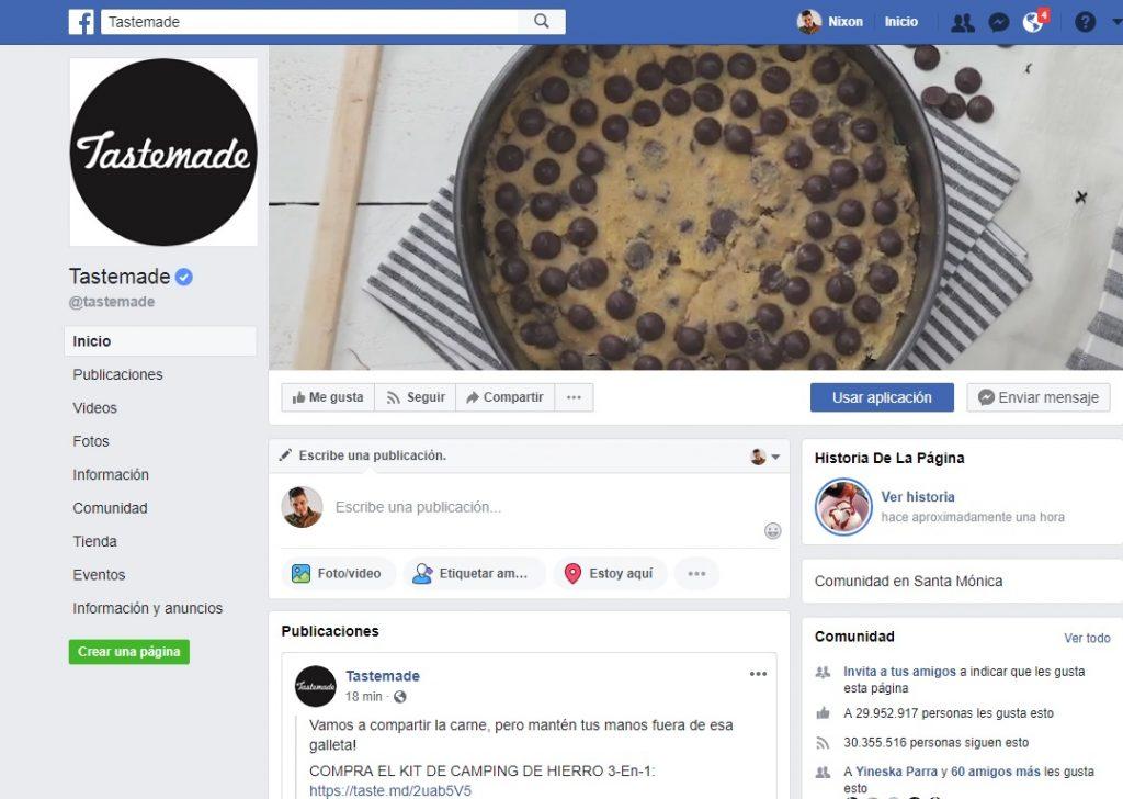 Pantallazo del FanPage de Tastemade en Facebook