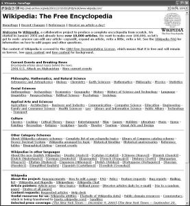 Home de la Wikipedia en el año 2001