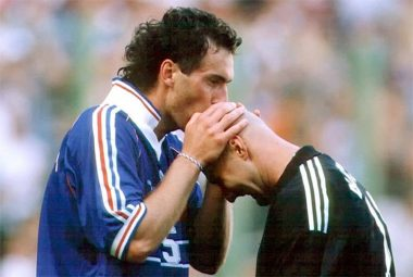 Fabien Barthez y Laurent Blanc