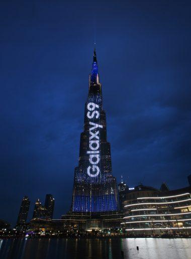 Publicidad de Samsung Galaxy S9 en el Burj Khalifa